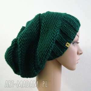 ręcznie robione czapki czapa butelkowa zieleń