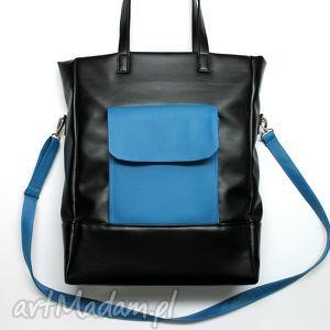 na ramię shopper bag - czarna i dodatki turkusowe, elegancka, nowoczesna