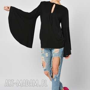 PETUNIA CZARNA - BLUZKA Z SZEROKIMI RĘKAWAMI, bluzka, czarna, jersey