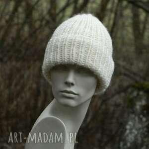 czapki 100 wool unisex ecru wywijana czapa, czapka, czapka