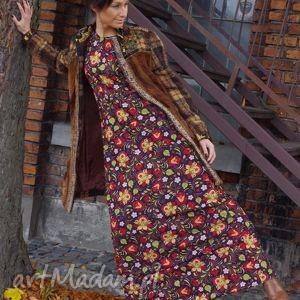 Foly-długa sukienka sukienki ququ design folkowa, długa