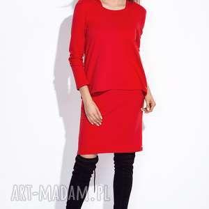 Czerwona sukienka z bluzką do kompletu XXL, casual, midi, długi-rękaw, dresowa