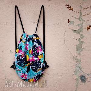plecak worek xl, plecak, worek, tropikalny, lato, monstera, flamingi