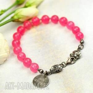 elegancka srebrna bransoletka z agatami a855, różowa bransoletka, róż i srebro
