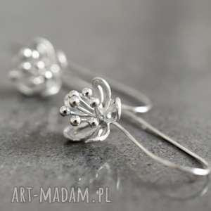 925 srebrne kolczyki kwiaty ii - kwiaty, kwiat, srebro, natura, długie, 925