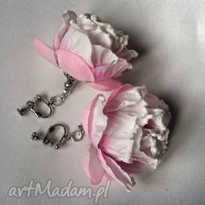 Prezent klipsy handmade kwiatowe jaśminowe gardenie hipisowskie X1, klipsy, róże