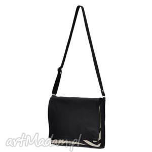 ręcznie wykonane teczki 35 -0004 czarna torebka aktówka damska do szkoły i na studia