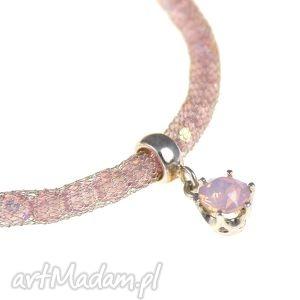 poplavsky bransoletka pink opal crystal srebro 925, bransoletka, srebro, kryształki