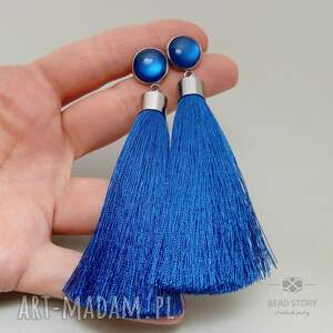 Kolczyki z chwostami niebieskimi, sztyfty, stal, szlachetna, chwost, akryl