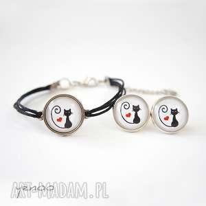 Komplet - bransoletka i kolczyki kotek serce yenoo bransoletka