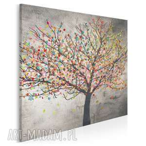 obraz na płótnie - drzewo liście w kwadracie 80x80 cm (30604)