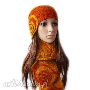 rudy komplet - czapka i szal z zawijasami - komplet, czapka, szal, lekki, ciepły