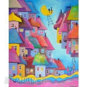 obraz na płótnie - bajkowe miasteczko kotów 40/50 cm, abstrakcja, obraz, akryl