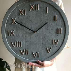 Zegar ścienny betonowy handmade z betonu antracyt miedziany
