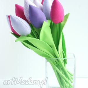 tulipany - bukiet 10 bawełnianych kwiatów, tulipany, kwiaty, dekoracje