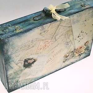drewniana walizka- vintage rose, walizka, na, zdjęcia, vintage, róże, listy