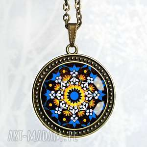 floral mandala oryginalny naszyjnik z grafiką folk w szkle - duży, medalion