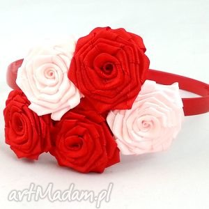 opaska dla dziewczynki z 2 gumkami bukiet pasji - czerwone, gumki