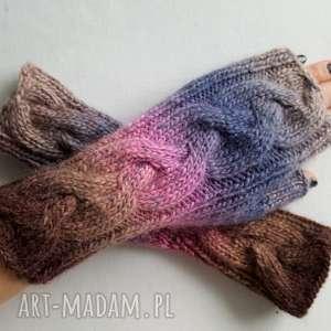 handmade rękawiczki tęczowy warkocz