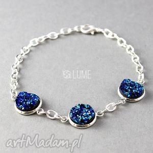 bransoletka niebieskie druzy, bransoletka, łańcuszek, kaboszon, elegancka