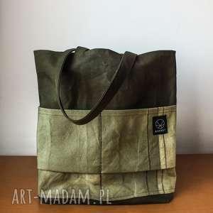 na ramię torebka canvas khaki, ekologiczna, bawełniana, oliwkowa, płótno