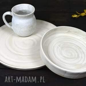 kremowy ceramiczny komplet - satin - kubek i 2 talerze - rękodzieło artystyczne