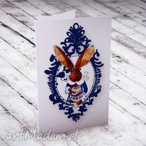 handmade kartki wielkanocna karteczka z zającem