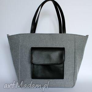 hand-made na ramię shopper bag worek - tkanina szara i skóra czarna