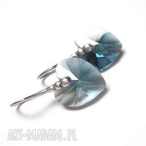kolczyki heart blue ombre - kolczyki, srebro, oksydowane, swarovski, serca, wyjątkowe