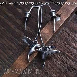 ULOTNE kolczyki ze srebra, srebro, oksydowane, koliber, ptaszek