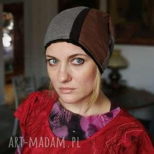 czapka damska męska unisex bawełna dzianina - czapka, etno, patchwork, wiosna