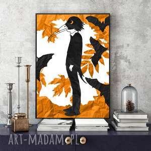 plakaty jesienna ilustracja z bocianem panem - 30x40 cm, w formacie a4, jesień