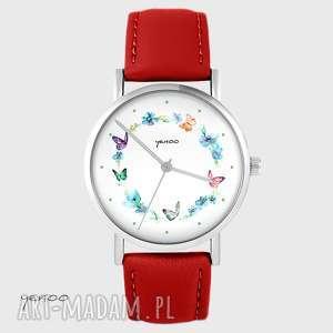 handmade zegarki zegarek - kolorowy wianek czerwony, skórzany