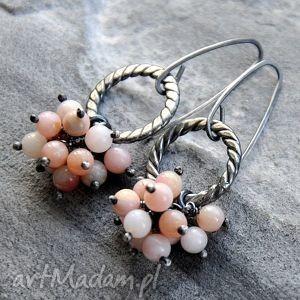 różowy opal peruwiański - srebrne kolczyki, srebro, opal, surowe, oryginalne