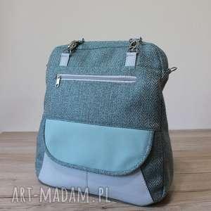 Plecak Torba Listonoszka - tkanina w jodełkę aqua, plecak, pakowny, listonoszka