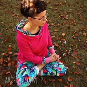Różowa bluza damska - Papugi , bluza-dresowa, bluza-z-kapturem, damska-bluza-dres