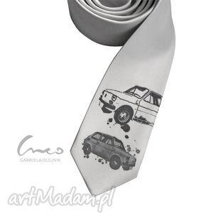 krawat z nadrukiem - maluch szary, krawat, nadruk, maluch, śledź, śledzik