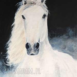obraz - biały koń akryl na płótnie, obraz, akrylowy, płótno, ręcznie, malowany