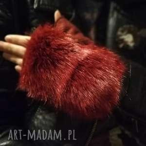 ręcznie wykonane rękawiczki bezpalcowe z futerkiem bordowe