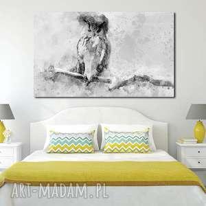 obraz duże SOWA 2 -120x70cm na płótnie szary biały czarny ptak designe,