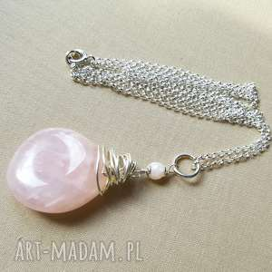 naszyjnik ze srebra i różowego kwarcu - srebro, pastelowy, kobiecy, delikatny, na