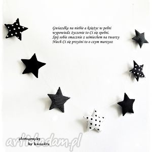 ręczne wykonanie pokoik dziecka gwiazdeczki - girlanda wersja black&white