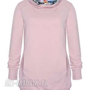 Różowa bluza, tunika damska z golfem, bluza tubą, długa sportowa