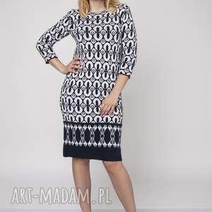 mkm swetry dzianinowa sukienka, suk005 granat/ecru mkm, dzianina, sukieka