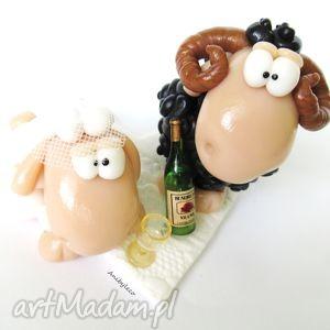 ślub figurka na tort ślubny baran i owieczka, figurka, tort, baran, fimo