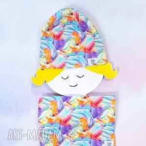 ręcznie robione komplet czapka komin dziecięcy farby rozmiar 0 -10 lat