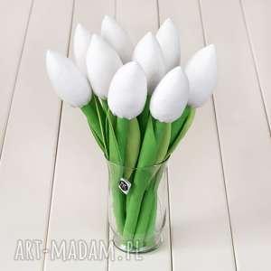 tulipany biały bawełniany bukiet, tulipany, bukiet kwiatów, tulipanów