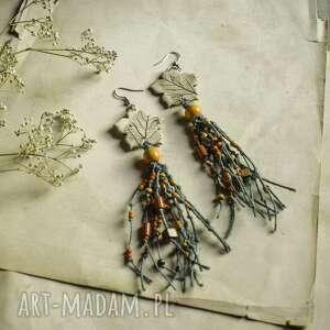 wiszące lniane kolczyki z odciskiem liścia, kolczyki, boho biżuteria
