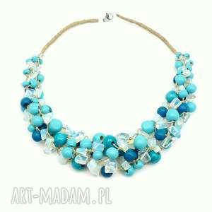 nina - niebieski naszyjnik lniany (oryginalny, len opalit duży artystyczny, naturalny)