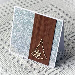 scrapbooking kartki choinka i drewno - kartka świąteczna, kartka, choinka, nietypowa